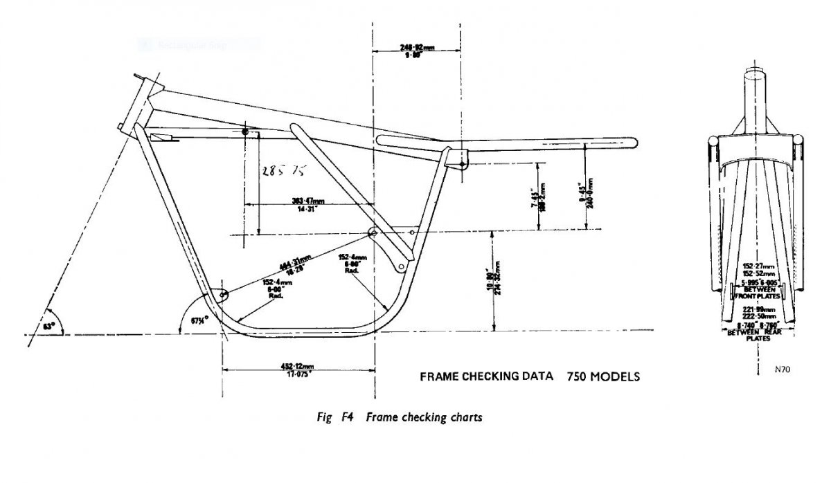 norton featherbed frame dimensions